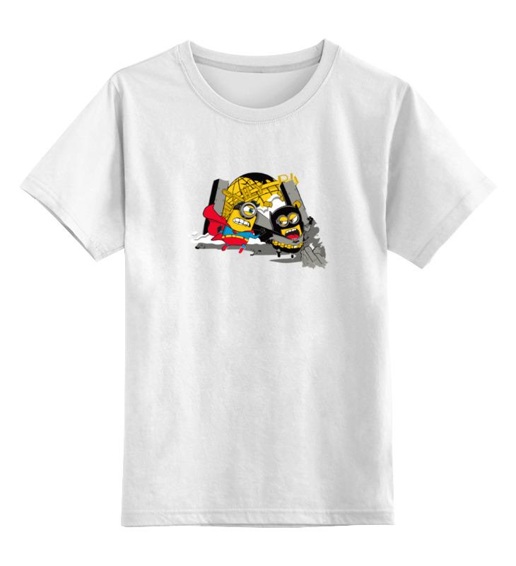 Детская футболка классическая унисекс Printio Бэтмен и супермен (миньоны) цена и фото