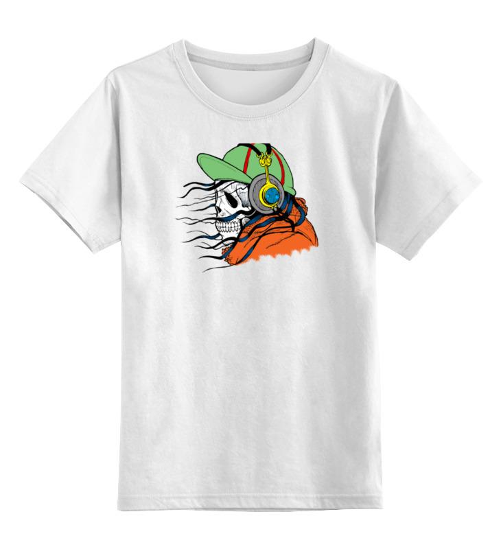 Детская футболка классическая унисекс Printio Череп в наушниках футболка с полной запечаткой мужская printio взгляд черной кошки