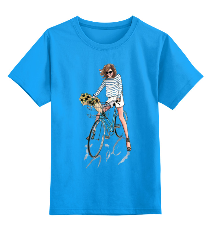 все цены на Детская футболка классическая унисекс Printio Девушка на велосипеде онлайн