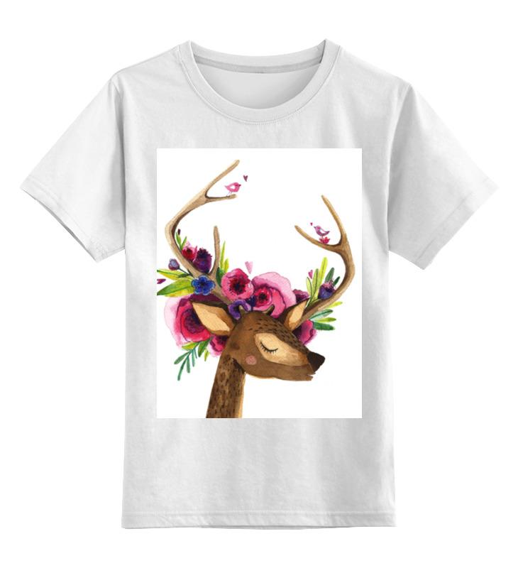 Детская футболка классическая унисекс Printio Олень с цветами в рогах футболка классическая printio муравьед с цветами
