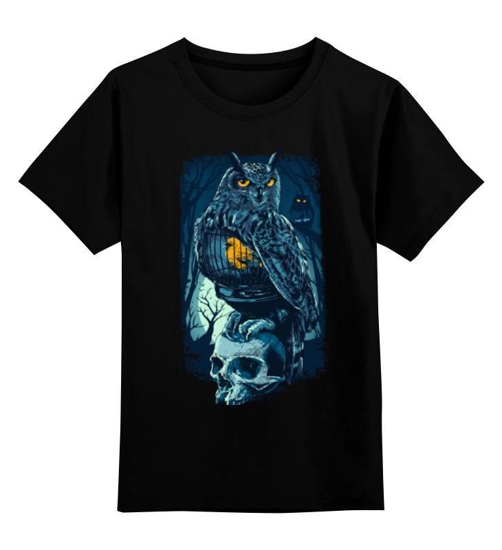 Детская футболка классическая унисекс Printio Сова и череп цена и фото
