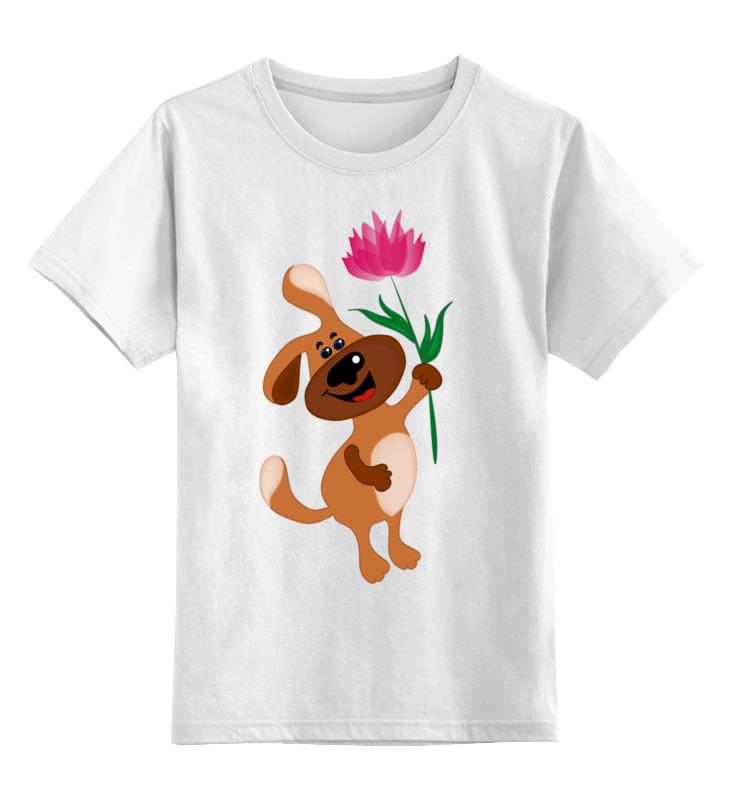 цена на Детская футболка классическая унисекс Printio Пес держит в лапе цветочек