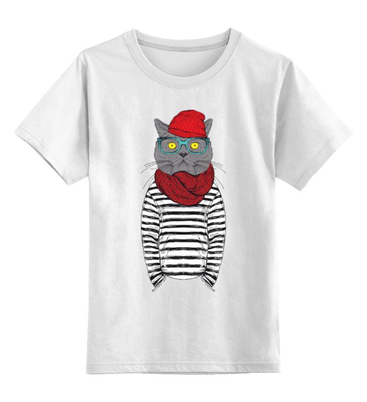 где купить Детская футболка классическая унисекс Printio Cat hipster по лучшей цене