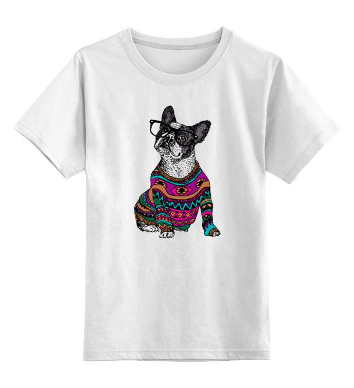 Детская футболка классическая унисекс Printio Собака хипстер цена и фото