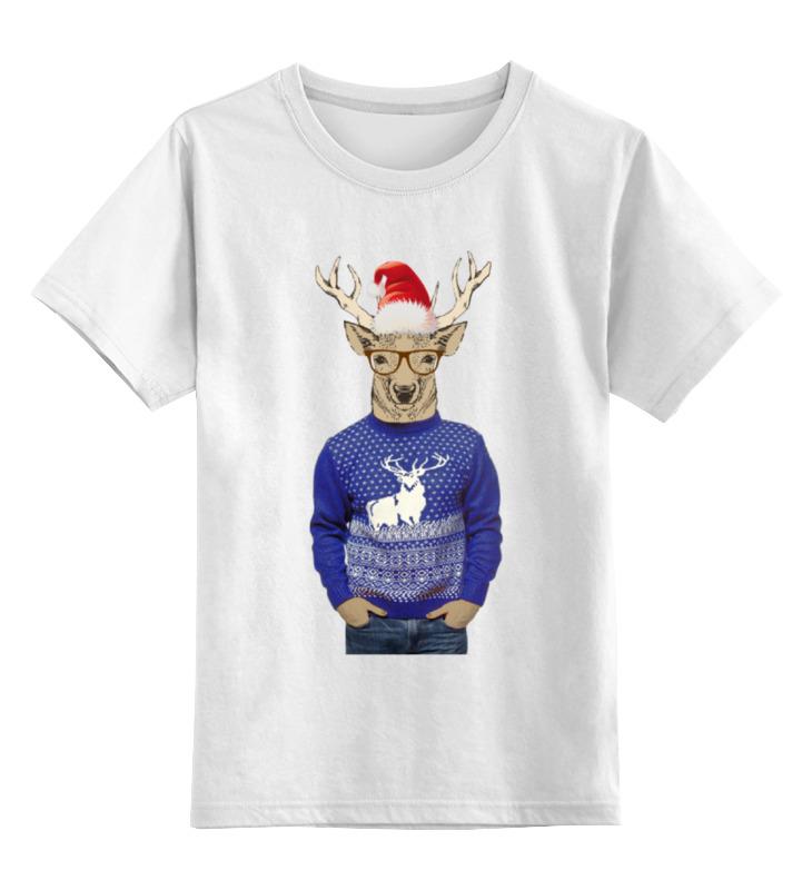 Детская футболка классическая унисекс Printio С олень новогодний в свитере