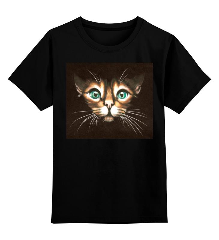 Детская футболка классическая унисекс Printio Кошка с зелеными глазами