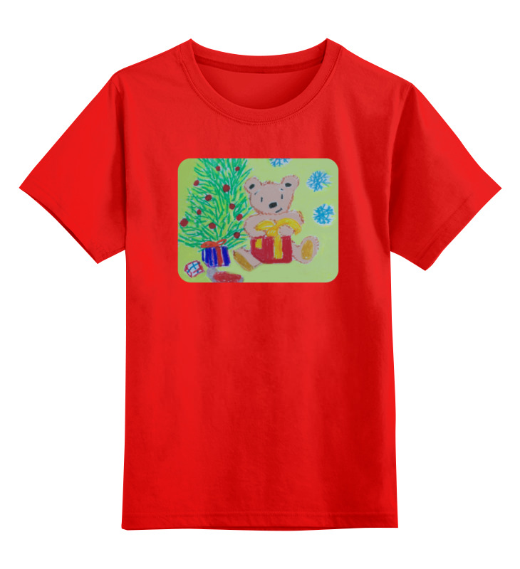 Детская футболка классическая унисекс Printio Новогодний мишка фиксатор двери мир детства мишка