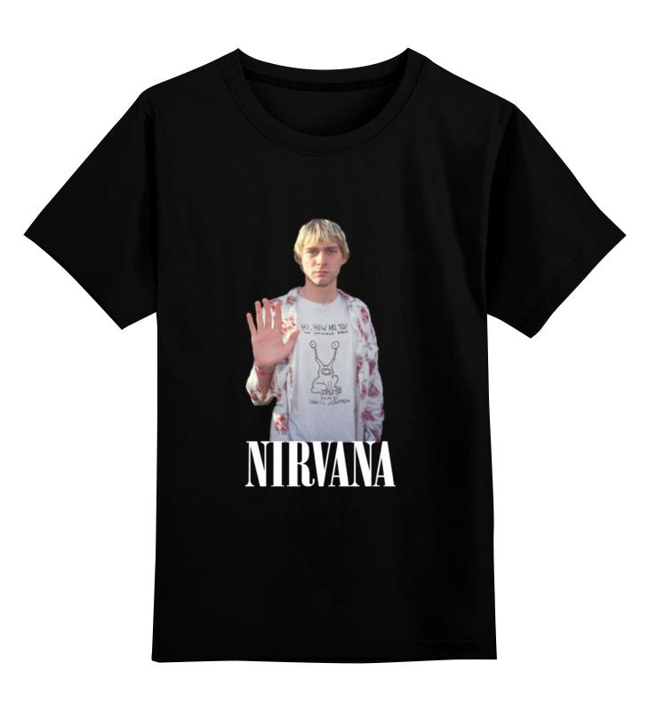 Детская футболка классическая унисекс Printio Nirvana kurt cobain hello t-shirt футболка wearcraft premium slim fit printio nirvana kurt cobain hello t shirt