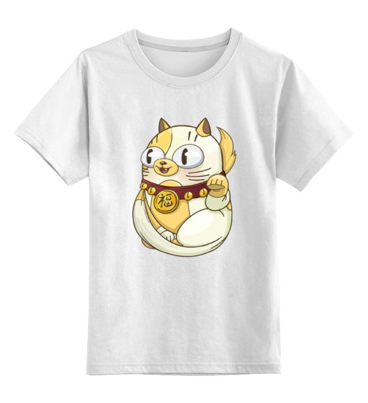 Детская футболка классическая унисекс Printio Манэки-нэко (кот счастья) синдром счастья или ложь по контракту