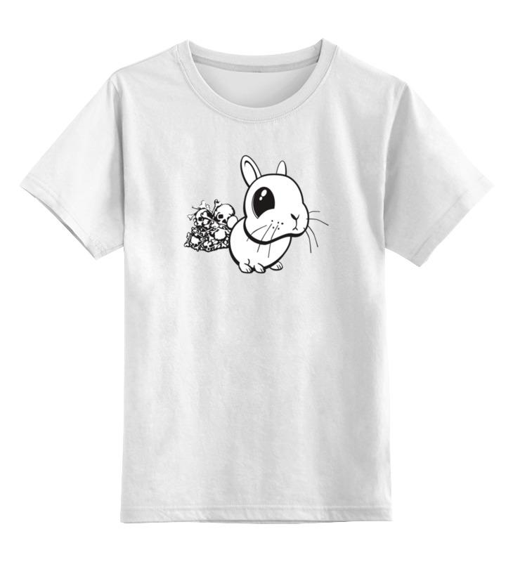 Детская футболка классическая унисекс Printio Кролик с черепами