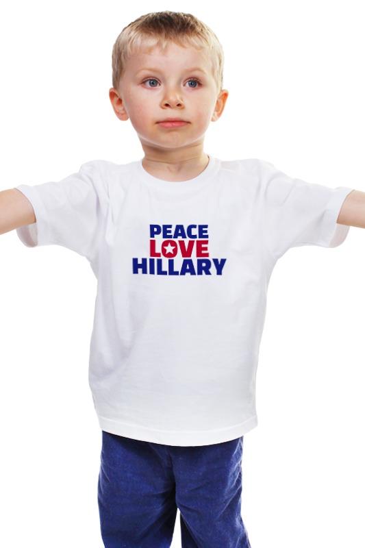 Детская футболка классическая унисекс Printio Peace love hillary