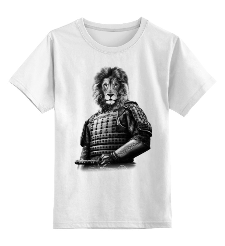 Детская футболка классическая унисекс Printio Лев самурай цена 2017