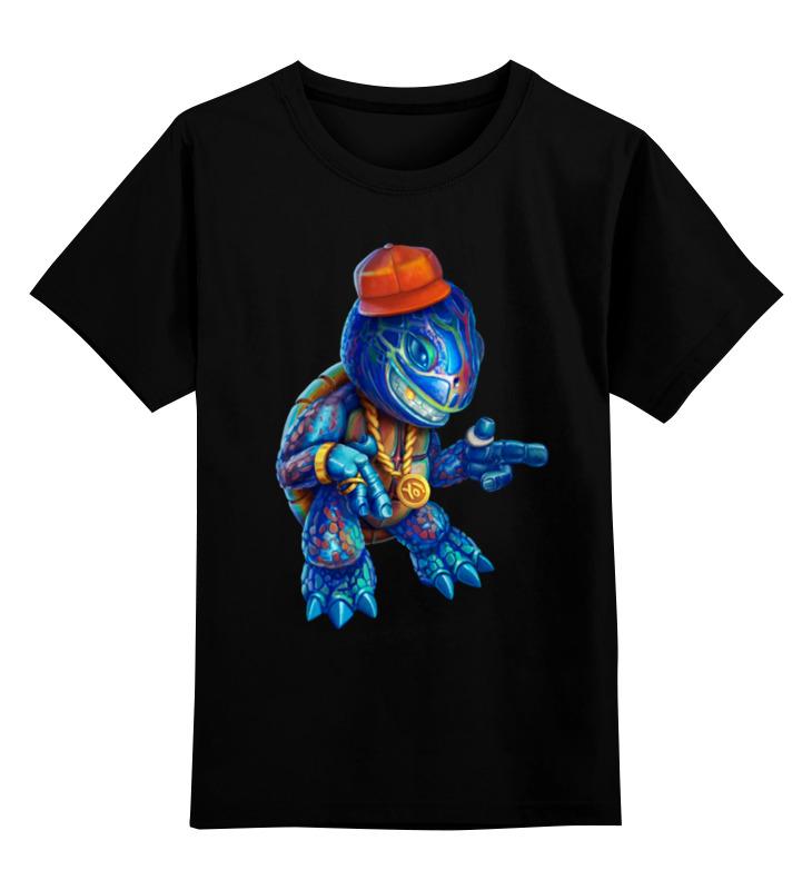Детская футболка классическая унисекс Printio Черепашка рэпер открытка черепашка
