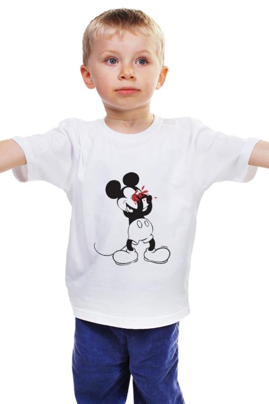 Детская футболка классическая унисекс Printio Mickey mouse bloody eyes on white футболка и шорты mickey mouse 12мес красный