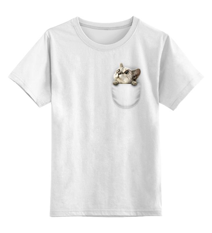 Детская футболка классическая унисекс Printio Кот в кармане стоимость