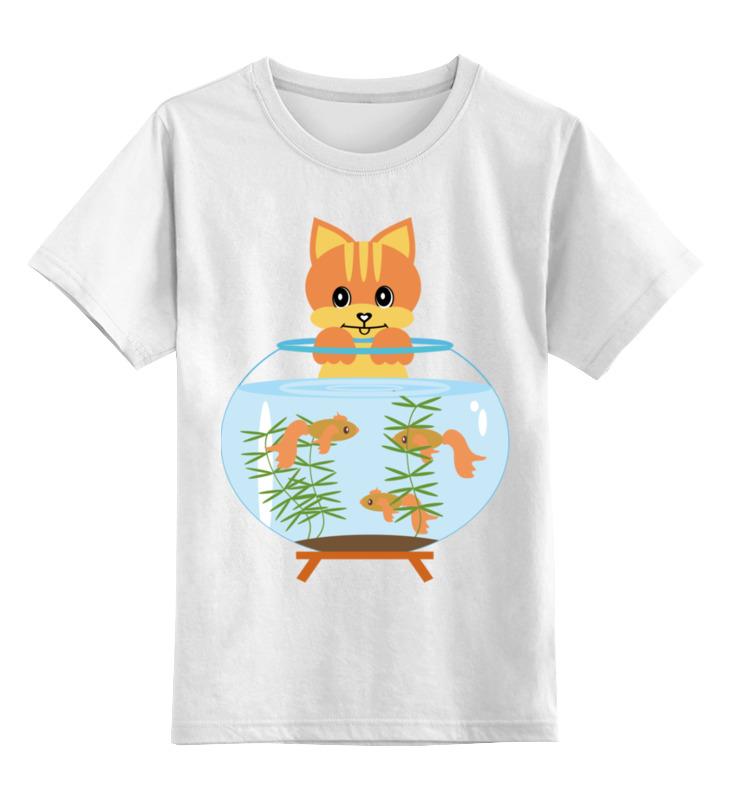 Детская футболка классическая унисекс Printio Котик  аквариумом