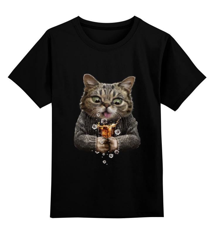 Детская футболка классическая унисекс Printio Whiskey cat leaving whiskey bend