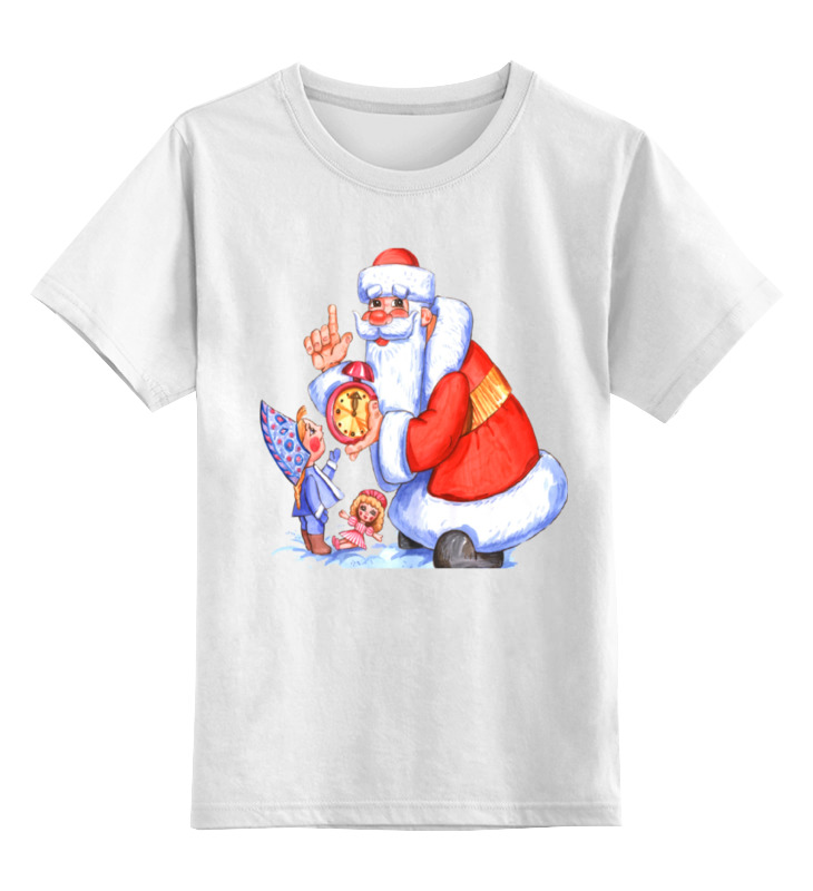 Детская футболка классическая унисекс Printio Дед мороз  снегурочка.  новым годом.