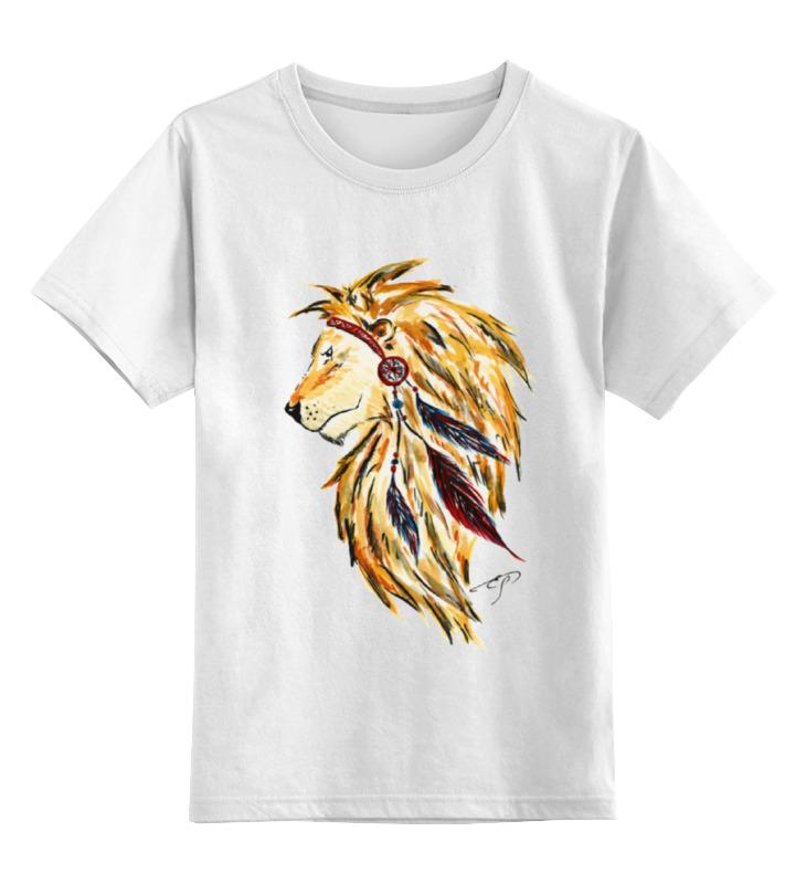 Детская футболка классическая унисекс Printio Лев индеец цена и фото
