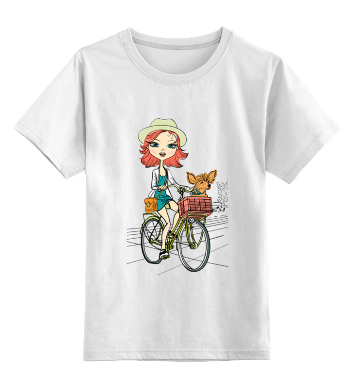 Детская футболка классическая унисекс Printio Девушка с собачкой детская футболка классическая унисекс printio сексуальная девушка в молоке