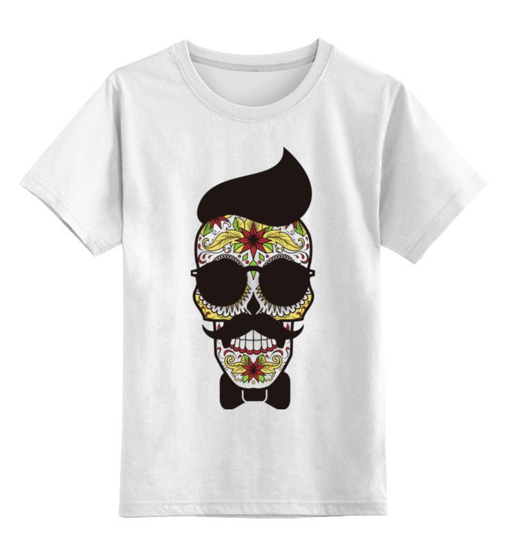 Детская футболка классическая унисекс Printio Череп, усы и бабочка детская футболка классическая унисекс printio череп и скейты