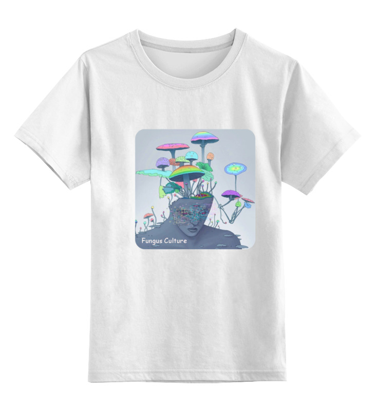 Детская футболка классическая унисекс Printio Fungus culture мицелий грибов груздь белый 60мл