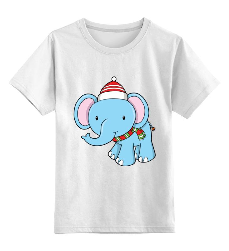 Детская футболка классическая унисекс Printio Слон новый год цена и фото