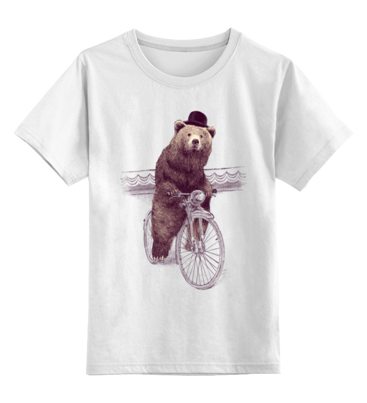 все цены на Детская футболка классическая унисекс Printio Медведь на велосипеде онлайн