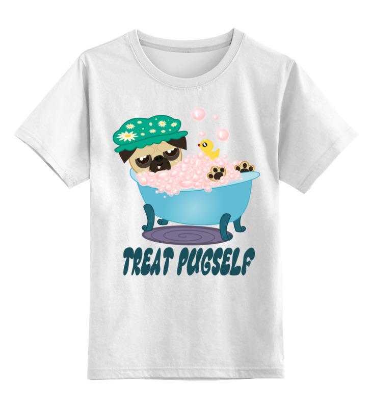 Детская футболка классическая унисекс Printio Мопс принимает ванну. релаксация. spa