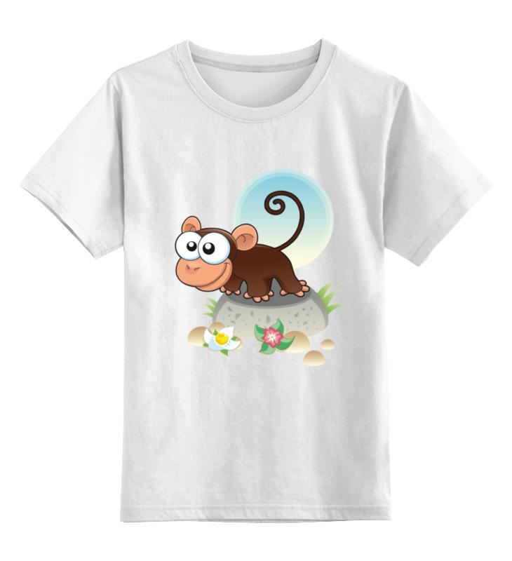 Детская футболка классическая унисекс Printio Любопытная мартышка цена и фото