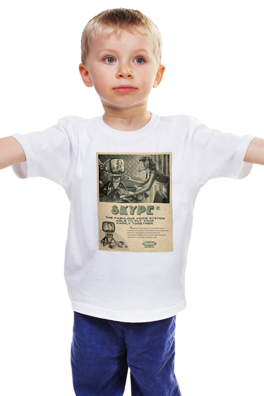 Детская футболка классическая унисекс Printio Skype retro white смартфоны huawei y5 2017 grey