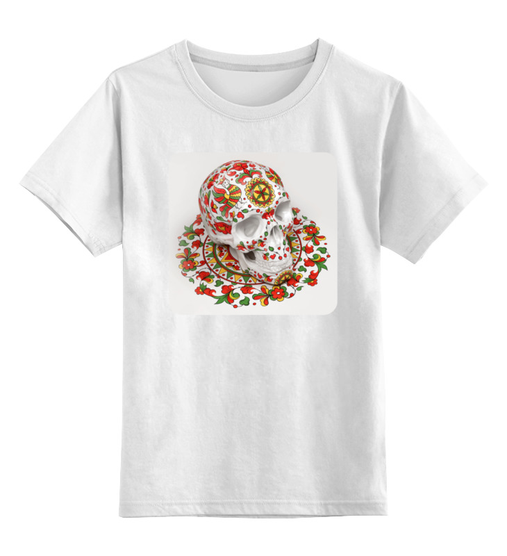 Детская футболка классическая унисекс Printio Череп (северодвинская роспись) детская футболка классическая унисекс printio череп мезенская роспись