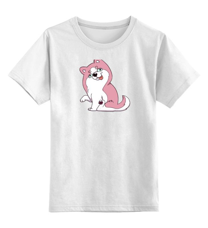 Детская футболка классическая унисекс Printio Розовый хаски