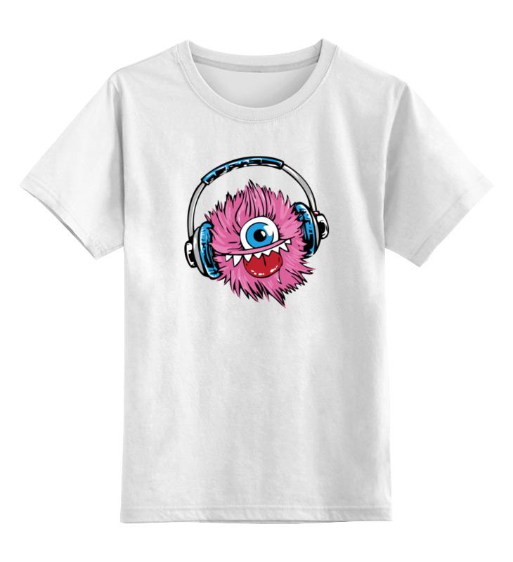 Детская футболка классическая унисекс Printio Монстрик в наушниках цена и фото