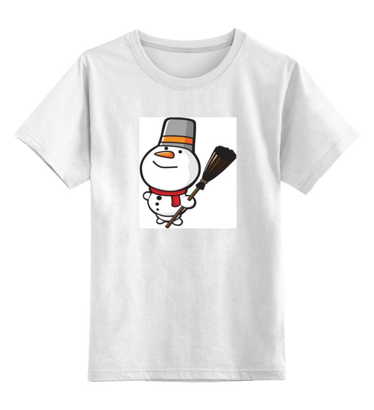 Детская футболка классическая унисекс Printio Снеговик с метлой тележки клининг с ведром