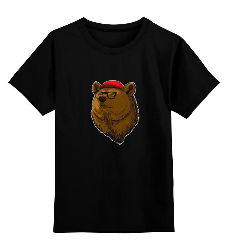 Детская футболка классическая унисекс Printio Медведь-хипстер