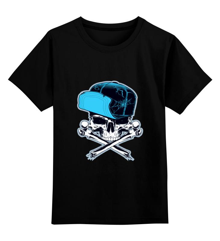 Детская футболка классическая унисекс Printio Череп в кепке недорго, оригинальная цена
