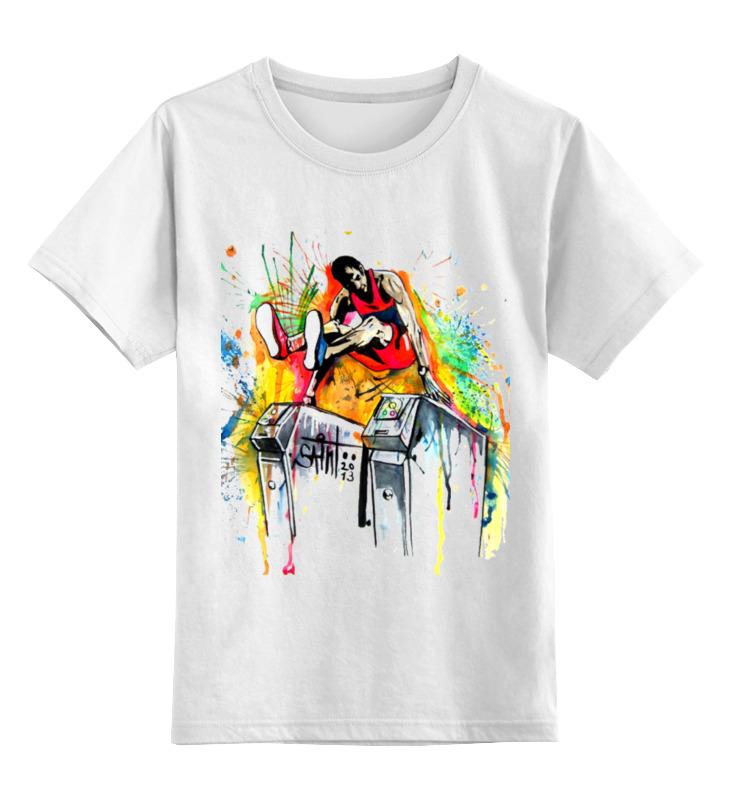 Детская футболка классическая унисекс Printio Футболка прыжки в высоту игра прыжки в мешках