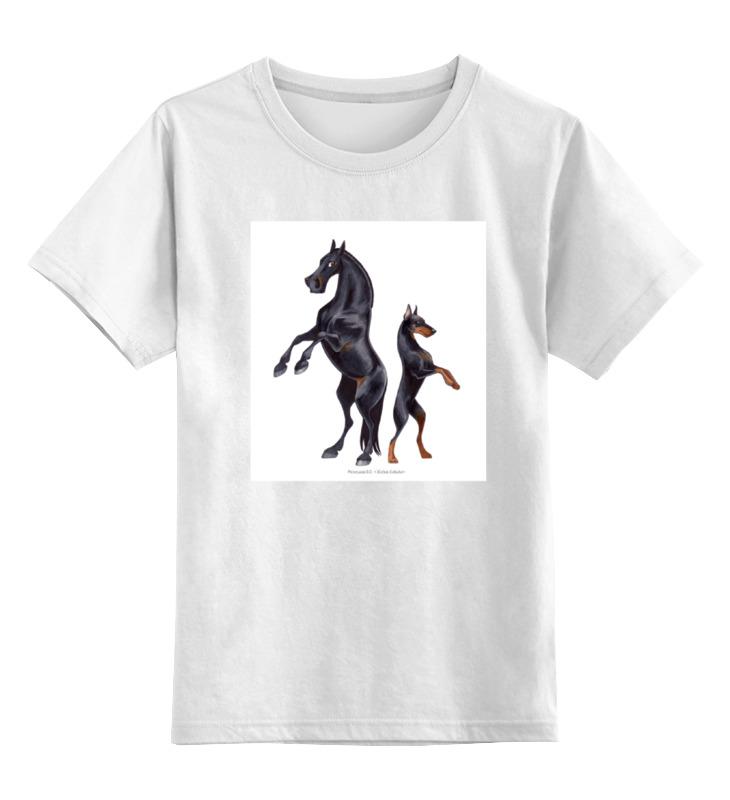 где купить Детская футболка классическая унисекс Printio Караковый пони/доберман дешево