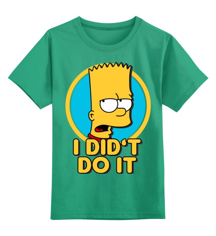 Детская футболка классическая унисекс Printio Барт симпсон.  этого не делал