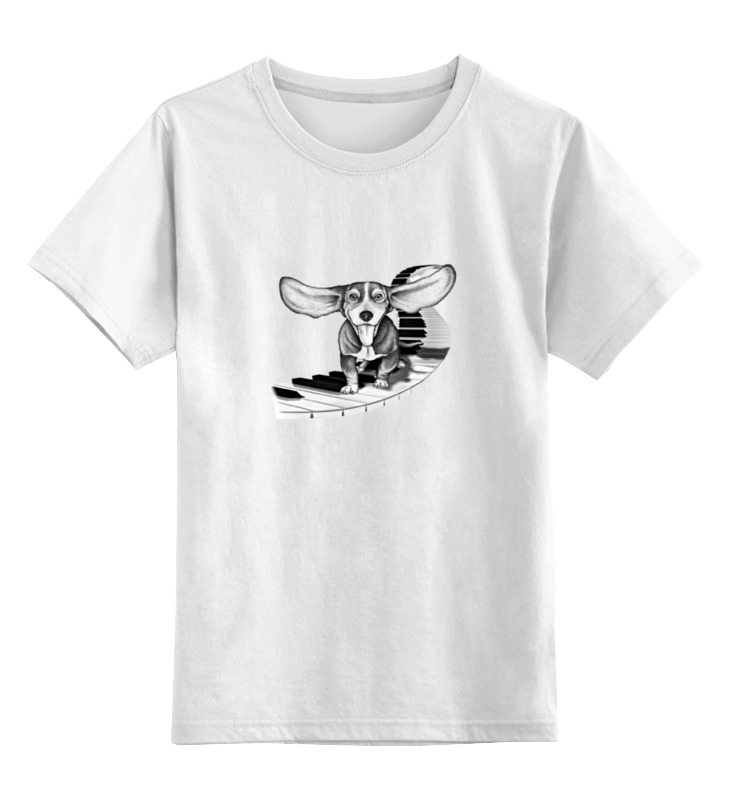 Детская футболка классическая унисекс Printio Собака моцарта. нарисовано вручную. цена