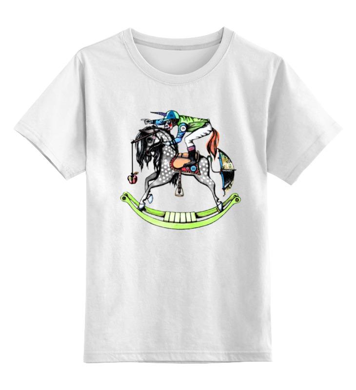 детская футболка классическая унисекс printio переходим на электромобили Детская футболка классическая унисекс Printio Обезьяна на коне