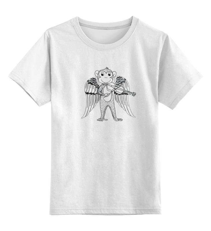 Детская футболка классическая унисекс Printio Обезьянка музыкант fancy слим обезьянка