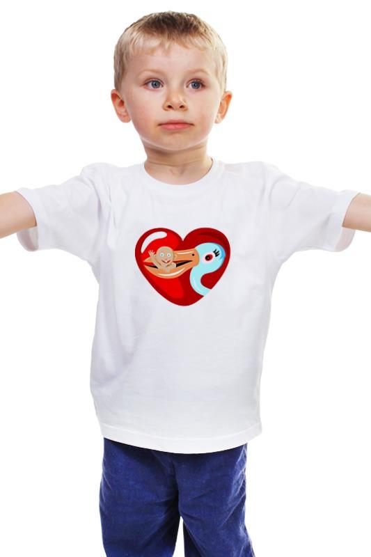 Детская футболка классическая унисекс Printio Аист ребенок коньяк белый аист в ижевске