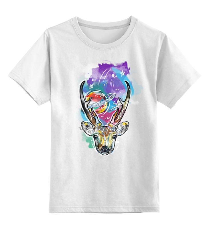 Детская футболка классическая унисекс Printio Олень  космос
