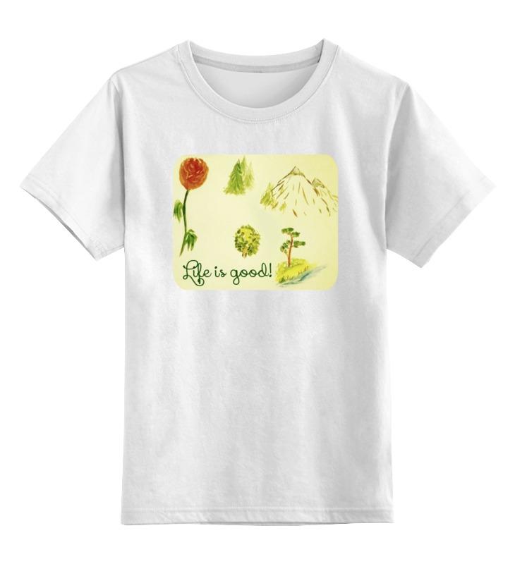Детская футболка классическая унисекс Printio Горы, сосны и цветы шишку сосны