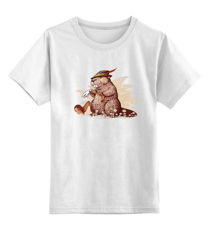 Детская футболка классическая унисекс Printio Кролик в охотничьей шляпе кролик белый великан в спб купить