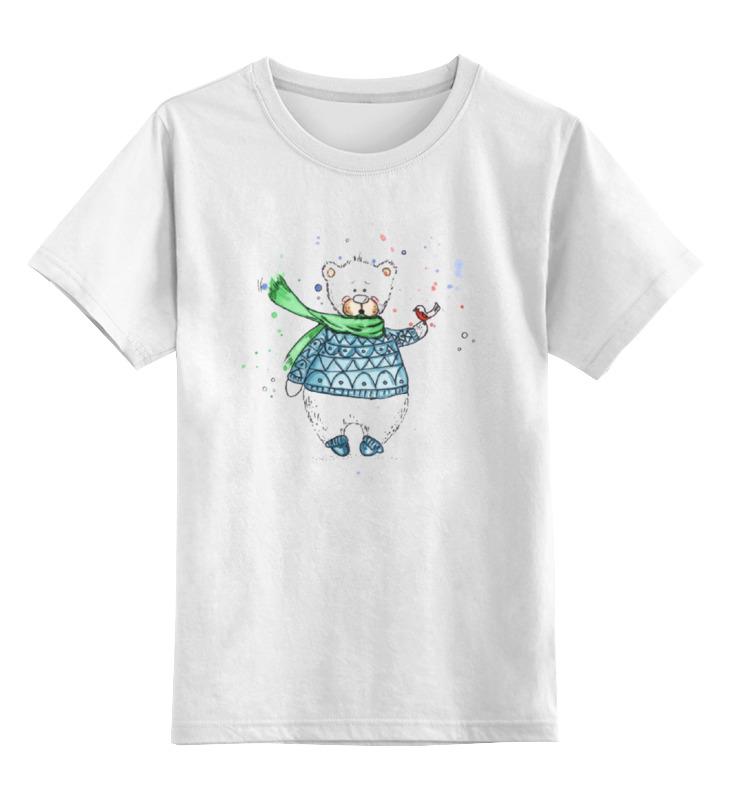 Детская футболка классическая унисекс Printio Белый мишка