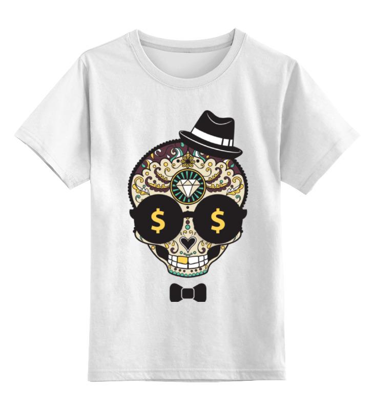 Детская футболка классическая унисекс Printio Череп в шляпе и бабочке