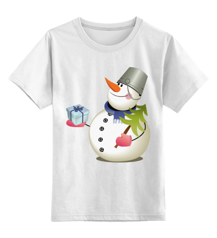 Детская футболка классическая унисекс Printio Снеговик с сувениром.с новым годом. disney гирлянда детская на люверсах с новым годом тачки 198 см